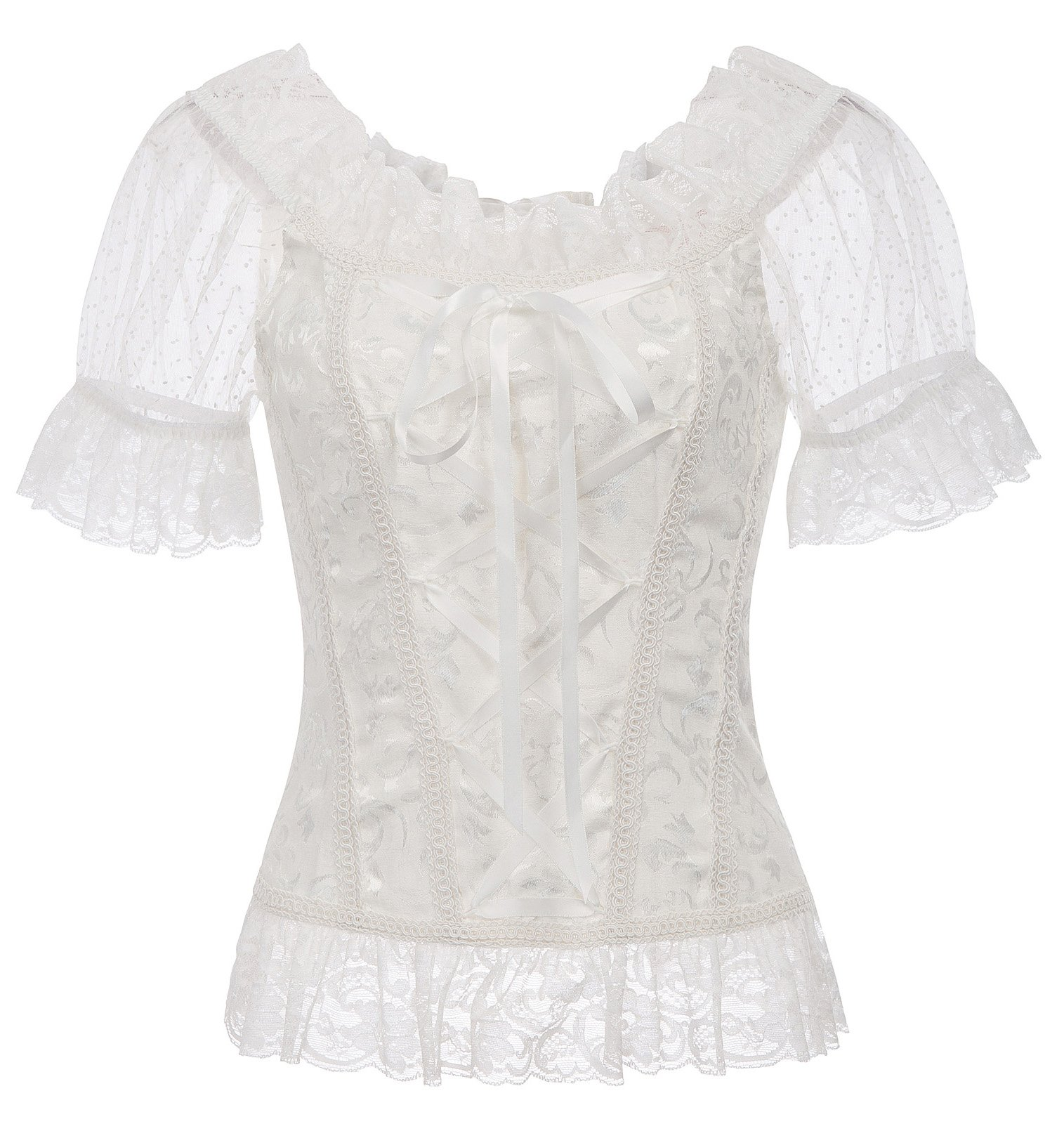 Belle Poque Women's Steampunk Sexy Jacquard Short Sleeve Lace Tops BP000509-2 XL White