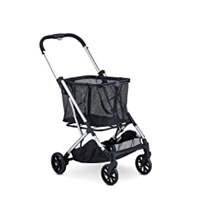 Joovy Boot Lightweight Shopping Cart with Reusable, Removable Shopping Bag with Compact Standing Fold, Silver