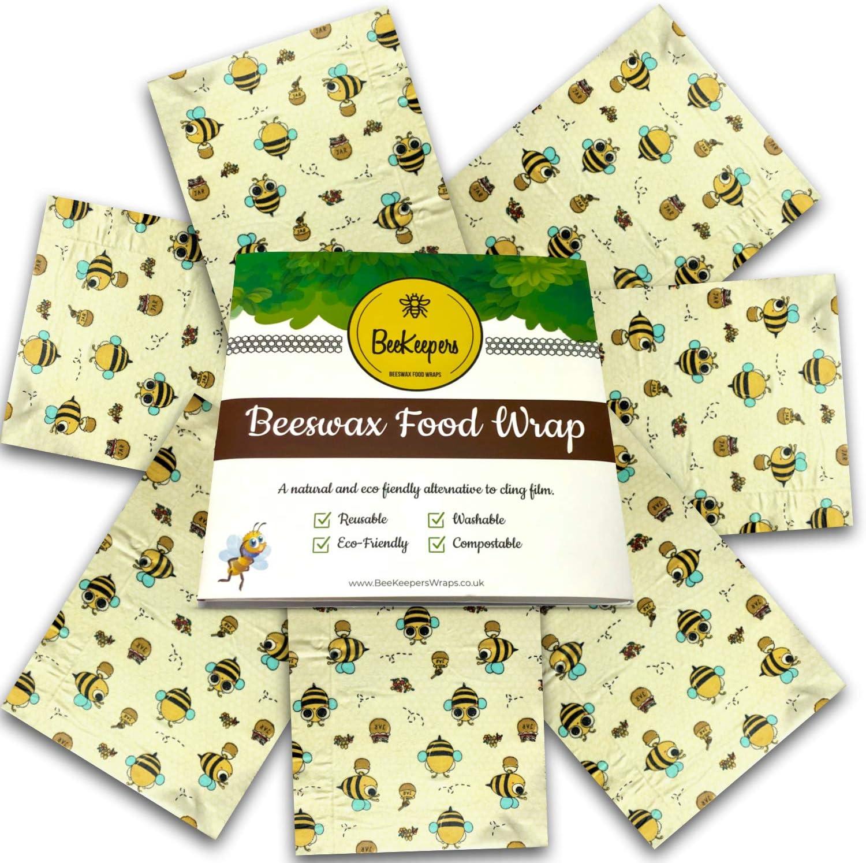 BeeKeepers Beeswax Wrap | Juego de 7 envolturas varias tallas Bees: Amazon.es: Hogar