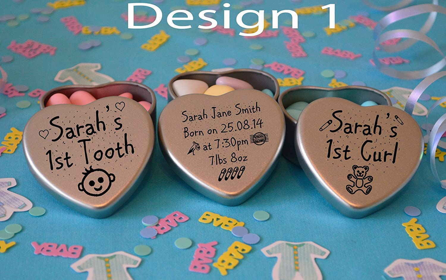 Personalised New Born Baby Boy or Girl Gift Set of 3 silver Heart tins with Babys Details and first Tooth and First Curl (Design 4, All With Pink colour Chocolate dragees) Gift in Can