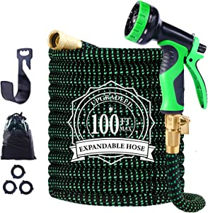 "Expandable Garden Hose, 100ft Leakproof Garden Hose with 10 Functions Nozzle, Flexible Water Hose with Durable 3-Layers Latex Core, 3/4"" Solid Brass Fittings, Premium 3750D Fabric"