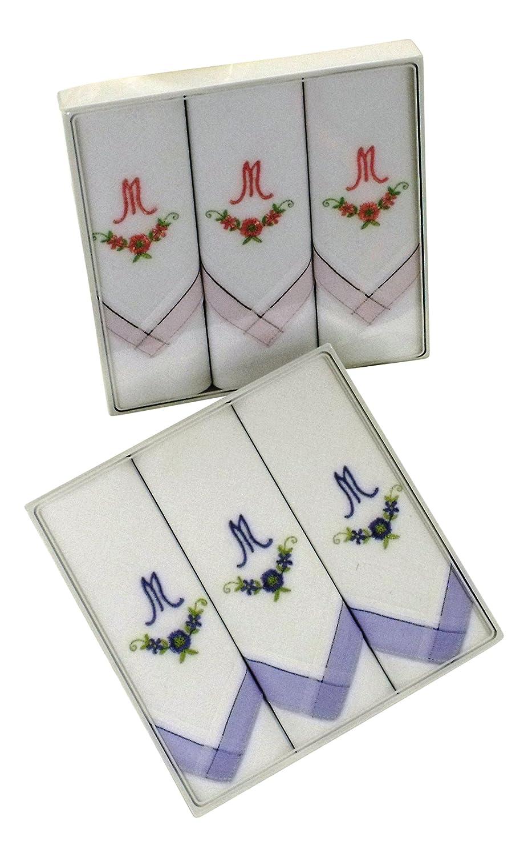 6 Stück Damen-Monogrammtaschentücher mit farbiger Satinkante, 2x3er Karton in rosa und hellblau. Freie Monogrammwahl (M)