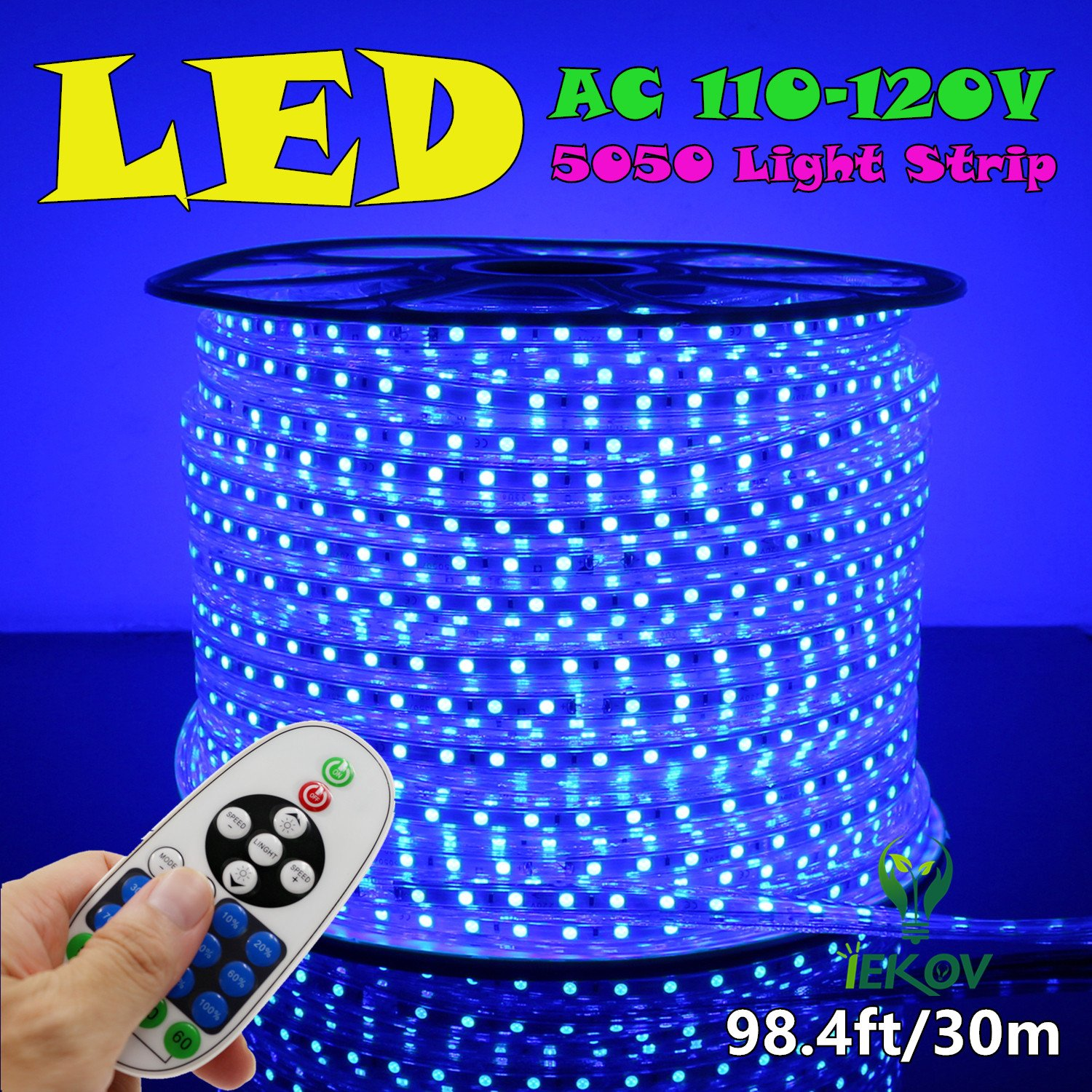 IEKOV trade; AC 110-120V Flexible LED Strip Lights, 60 LEDs/M, Dimmable, Waterproof 5050 SMD LED Rope Light + Remote Controller for Christmas Home Decoration (98.4ft/30m, Blue)