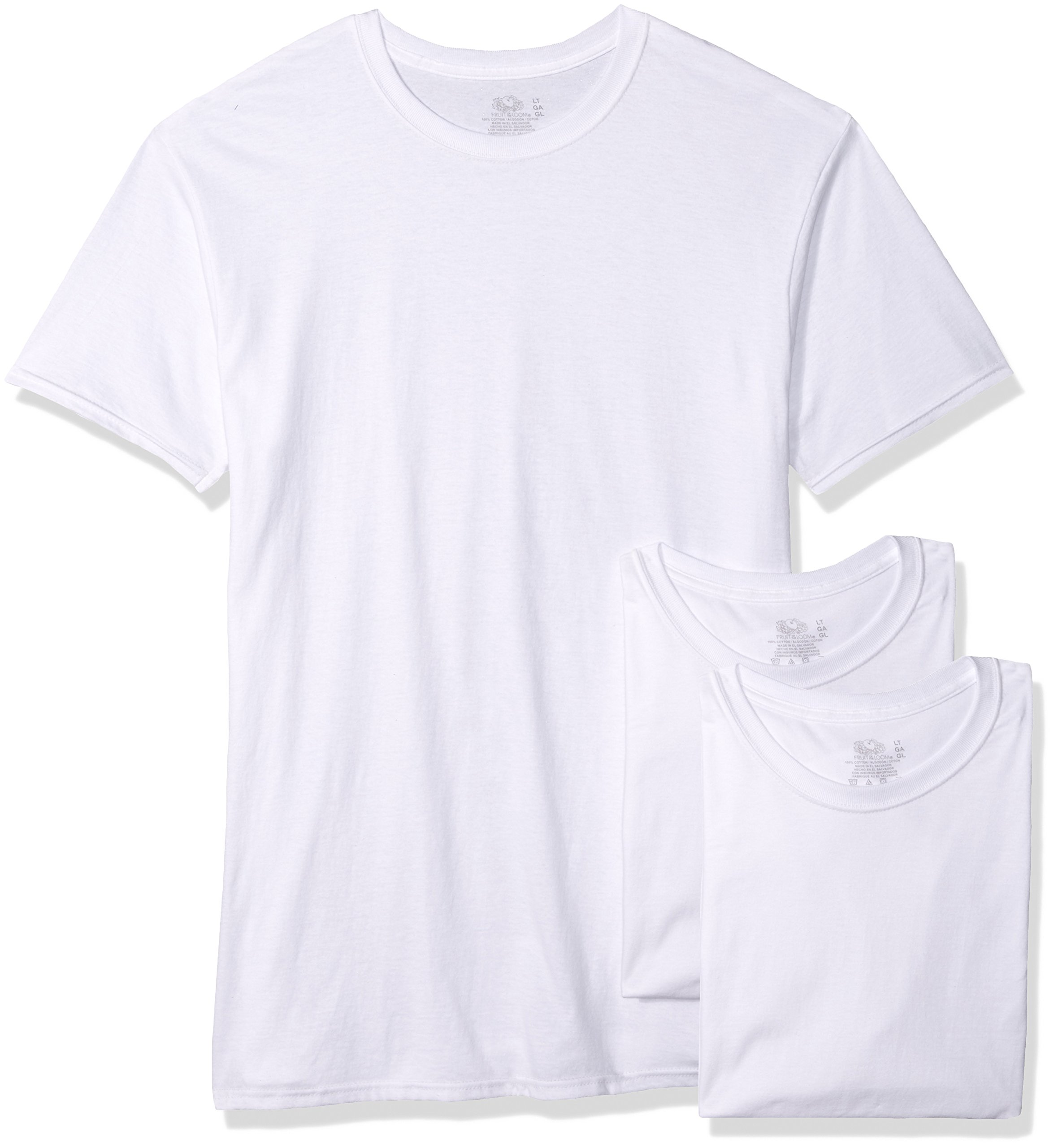 Fruit of the Loom Men's 3-Pack Tall Size Crew-Neck T-Shirt, White, LT