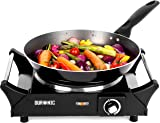 Duronic Hot Plate HP1BK | For Table-Top Cooking | 1500W | Black Steel Electric Single Hob with Handles | 1 Cast Iron Portable Hob Ring | For Warming, Cooking, Boiling, Frying, Simmering