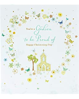 Goddaughter On Your Christening Day Church On The Hill Greeting Card