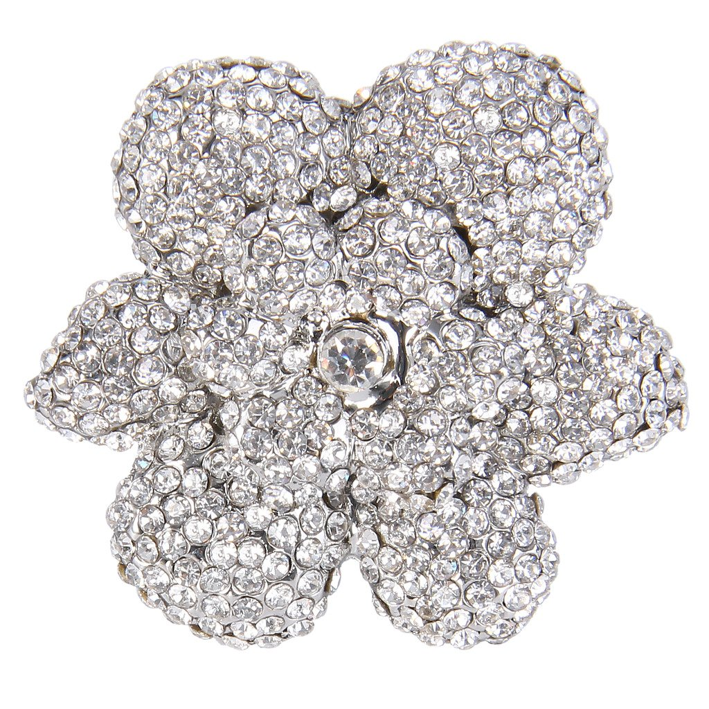 Ever Faith Women's Full Austrian Crystal Gorgeous Flower Statement Ring Clear Silver-Tone N08066-1