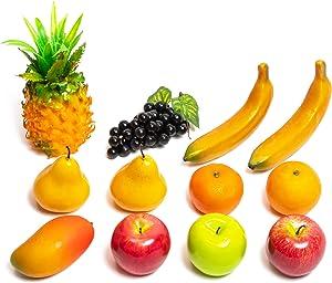 Juvale Artificial Fruit Set, Faux Fruit Decor (12 Pieces)