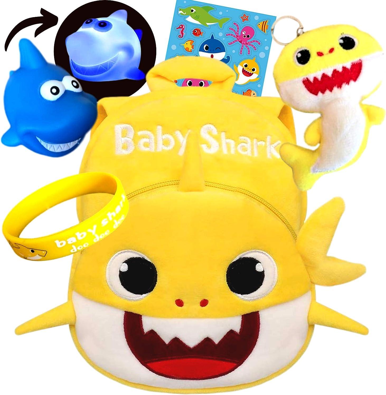 Q&M Novelties Baby Shark Backpack Gift Set Bundle (5 Pack), Kids Baby Shark Toys Plush Toddler Play Set