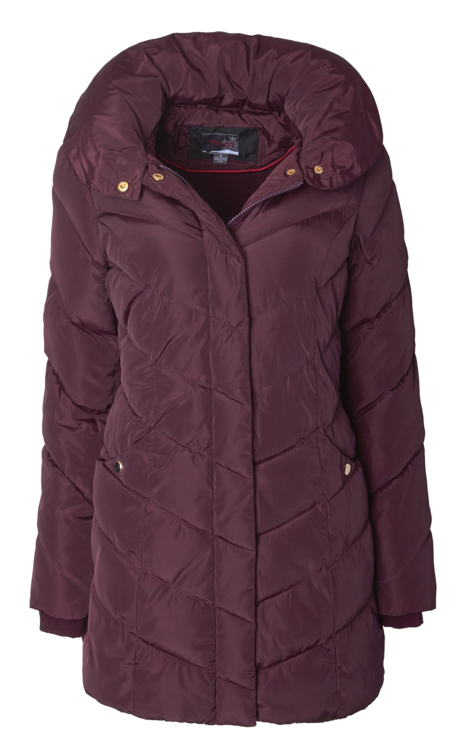 Sportoli Womens Packable Winter Chevron Quilted Fleece Lined Puffer Coat With Hood - Merlot (Size 1X)