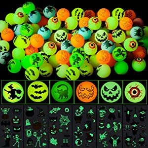 Twister.CK 84PCS Glow in The Dark Halloween Bouncing Balls,6 Halloween Theme Designs Halloween Party Supplies, School Classroom Game Rewards, Trick or Treating Goodie with 6 Sheets Sticks.