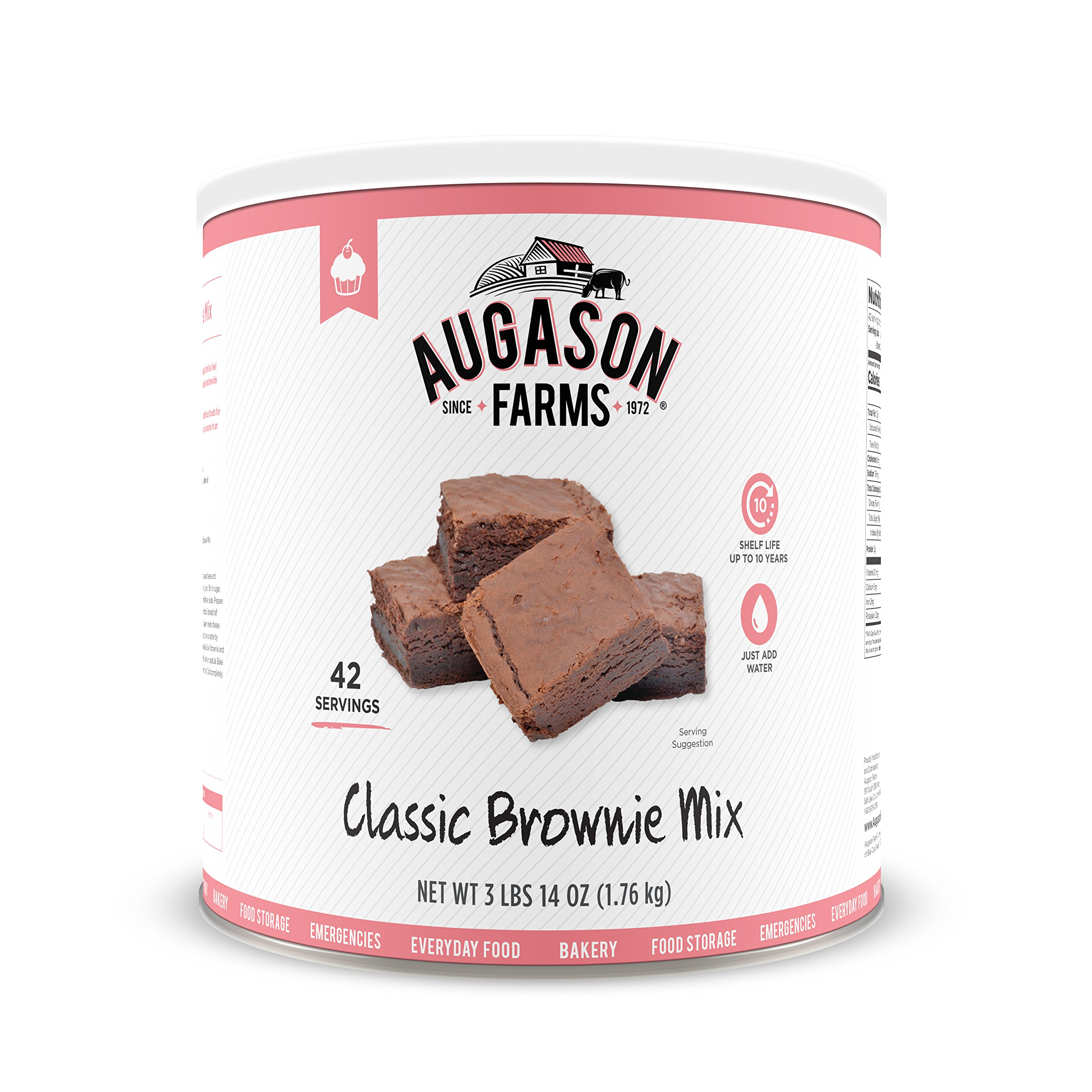 Augason Farms Classic Chocolate Brownie Mix 3 lbs 14 oz No. 10 Can