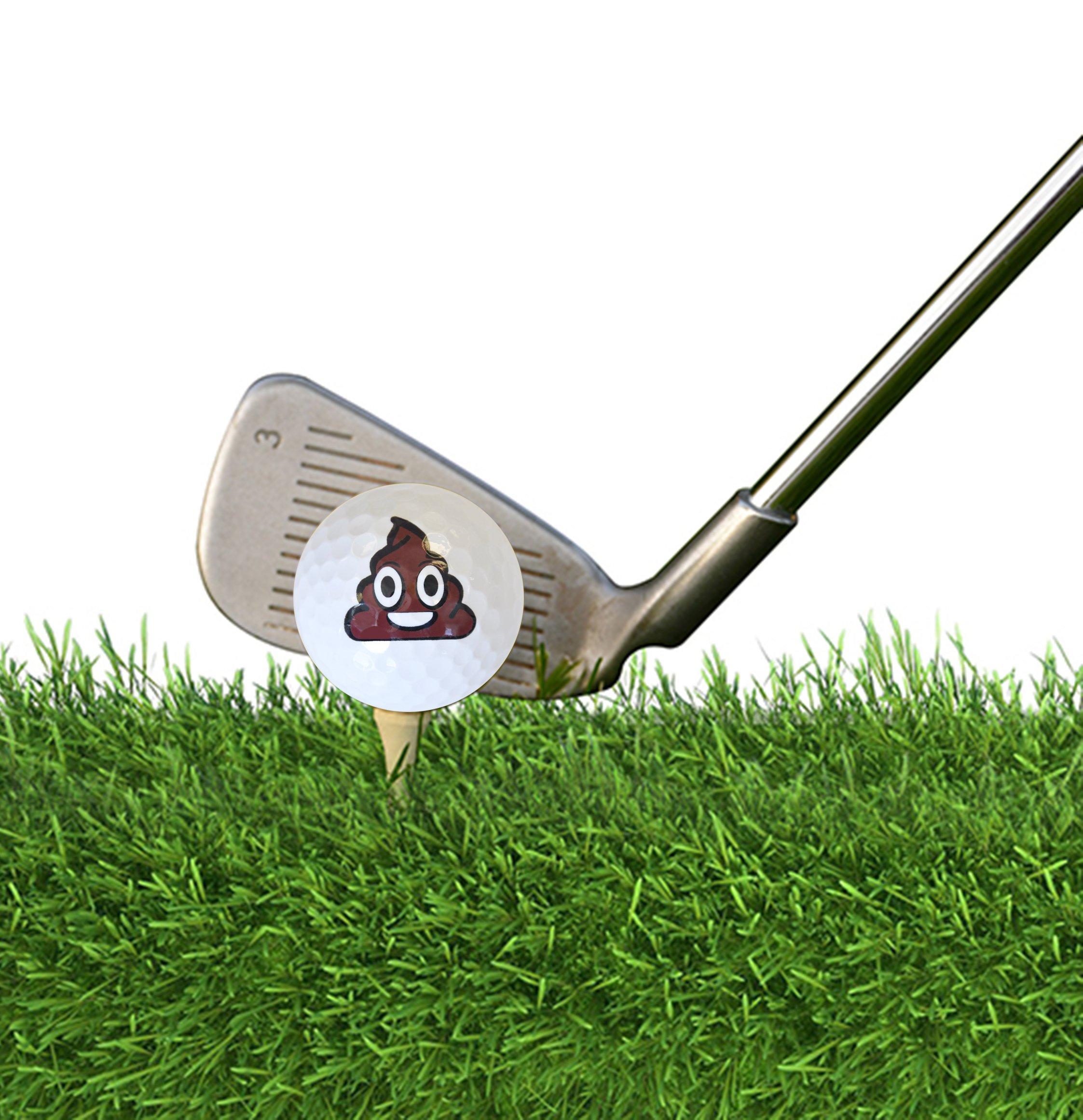 Navika Golf Balls- Oh $hit! Imprint (Sleeve of 3) - Poop Emoji