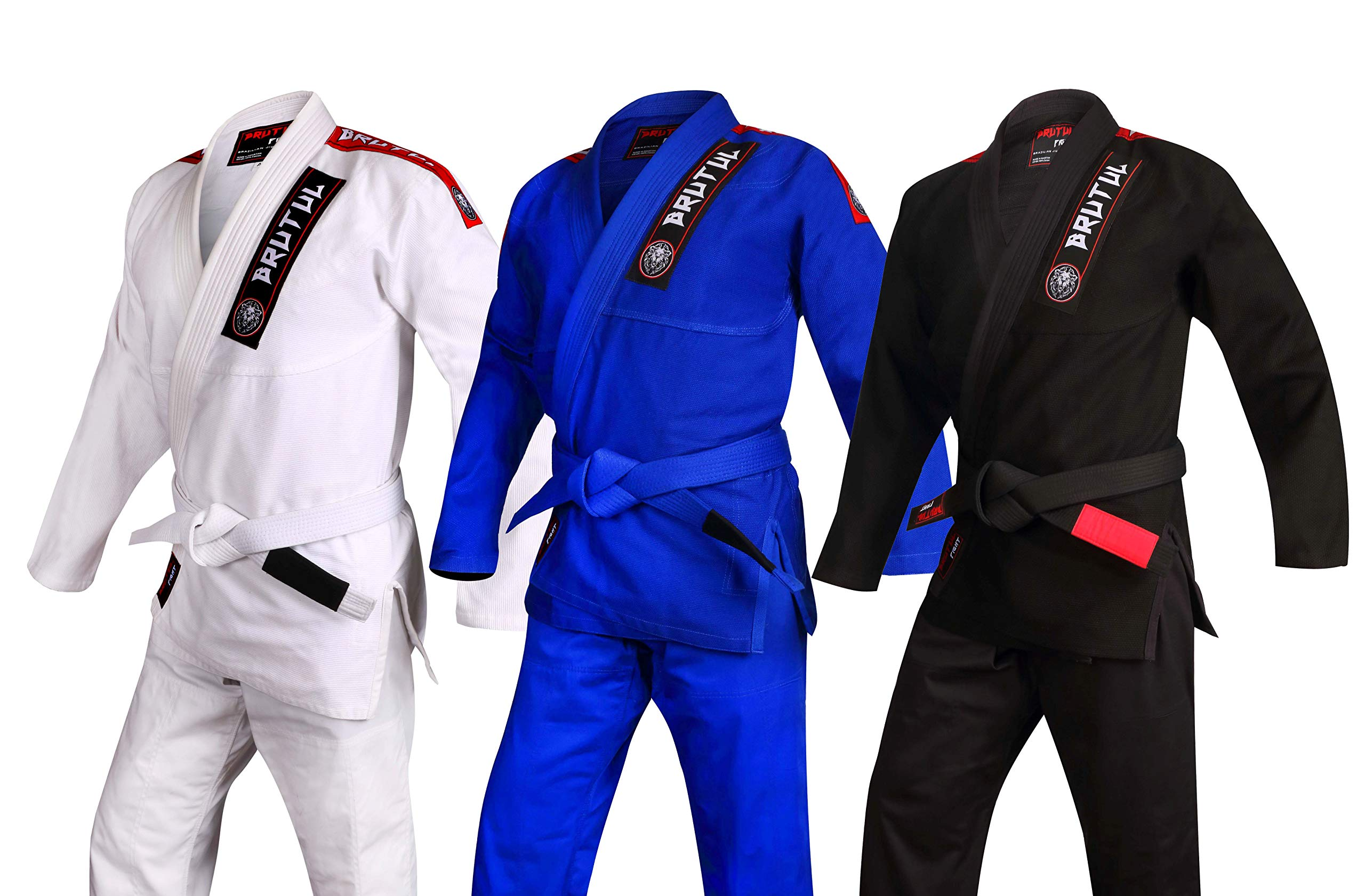BRUTUL FIGHT Ultra Light BJJ Brazilian Jiu Jitsu Gi BJJ Gi Kimonos Lightweight for Kids with Preshrunk Fabric (Black, C3) by BRUTUL FIGHT