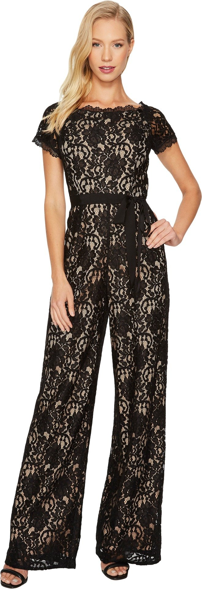Adrianna Papell Women's Juliet Lace Jumpsuit Black/Nude 14 by Adrianna Papell