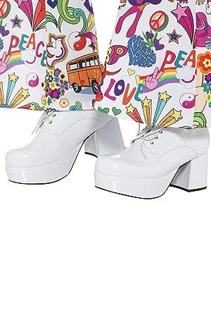 70 Plataforma Smiffys Blanco Años De Para Tacón Hombre Zapatos EHHrqIwUF