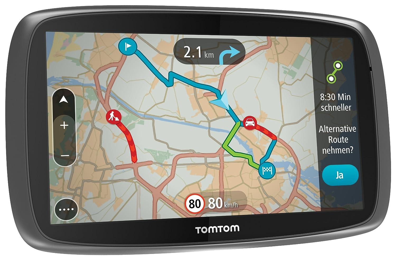 6 Zoll schwarz TomTom GO 6000 Europe Navigationssystem 15 cm Touchscreen, 8GB interner Speicher, QuickGPSfix, Lifetime TomTom Traffic /& Maps