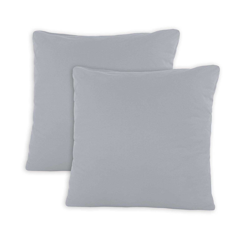 SHC Textilien Conjunto de Dos Fundas de Almohada, Funda de Almohada, Fundas 100% algodón con Cremallera - 15 Colores y 5 tamaños 80x80 cm ...