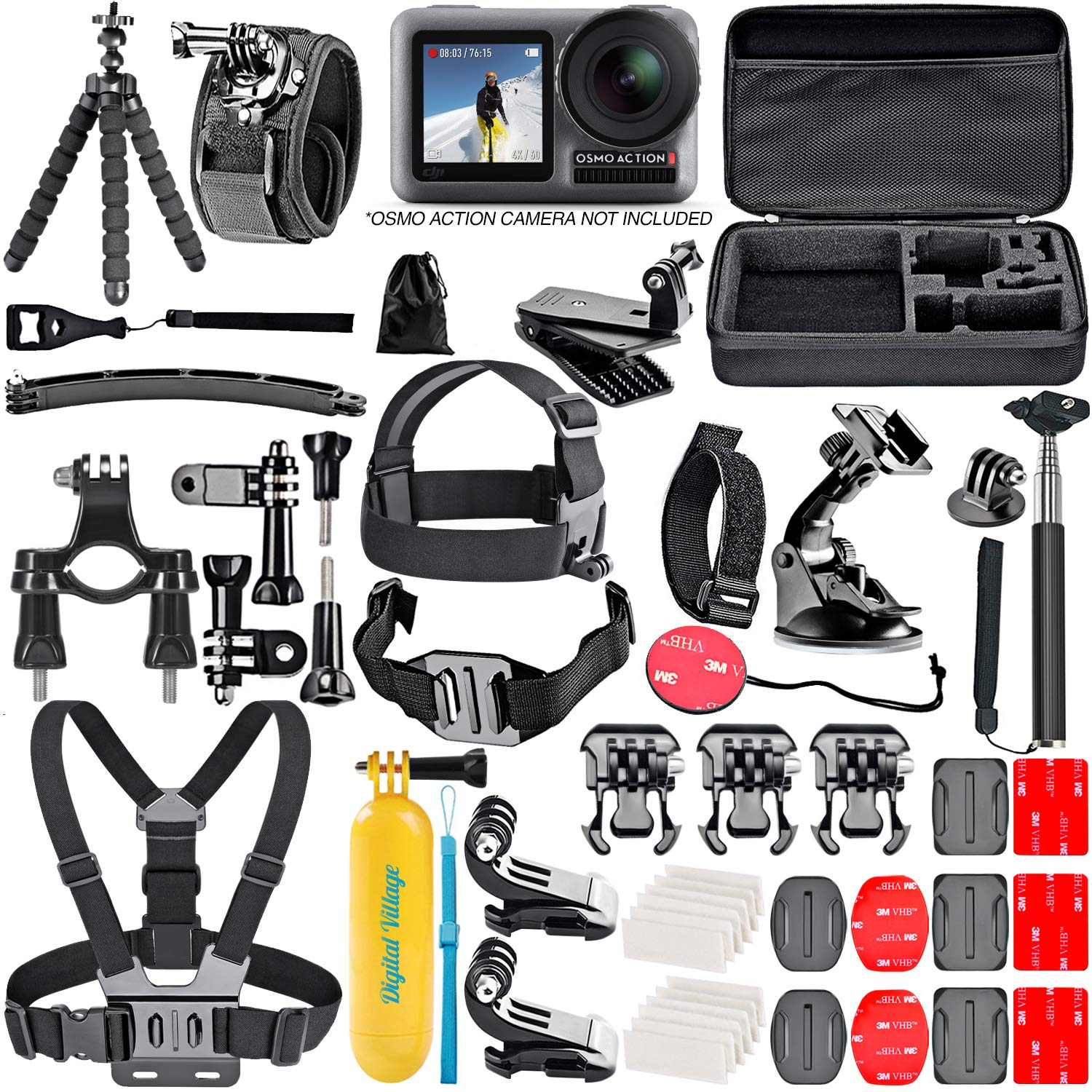 50 Piece Accessory Kit for DJI Osmo Action 4K Camera Action-Cam Bundle by Shutter Stop