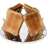 Campingtoaster Justcamp Golden, 4 Scheiben Toast, Toaster Aufsatz für Gaskocher, Campingkocher, Edelstahl, Silber, faltbar, platzsparend