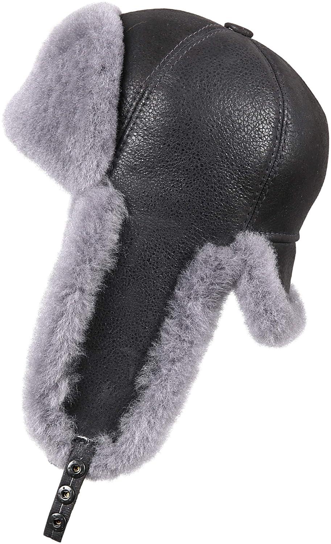 32d33856d Zavelio Men's Shearling Sheepskin 6 Panel Russian Ushanka Fur Hat