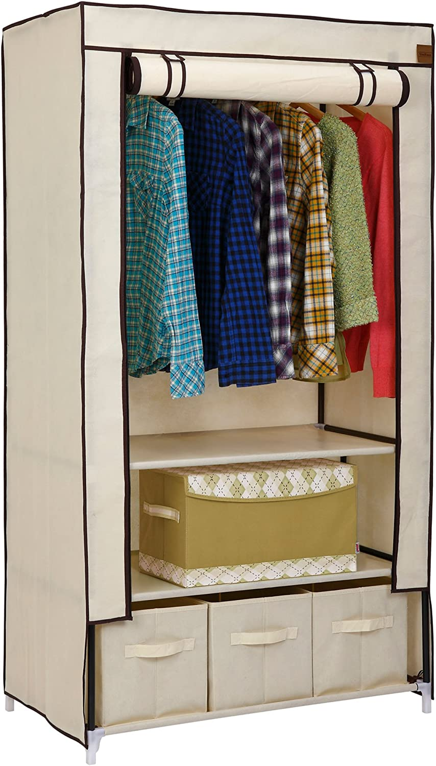 VonHaus Double Fabric Canvas Effect Wardrobe Cupboard – Clothes Storage Organiser With 3 Drawers And Hanging Rail – W88 X D50 X H160cm