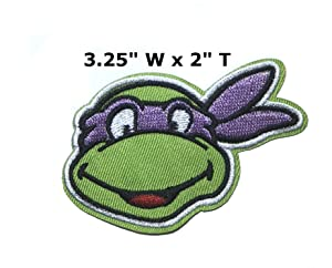 """Donatello Face - 3.25"""" x 2"""" - Teenage Mutant Ninja Turtles Movie Cartoon Embroidered Sew or Iron-on Patch Badge DIY Application Appliques"""
