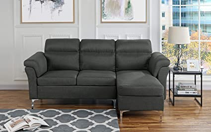 Genial Casa Andrea Milano Modern Linen Fabric Sectional Sofa   Small Space Couch  (Dark Grey)