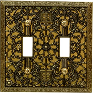 Amerelle Filigree Double Toggle Cast Metal Wallplate In Antique Brass Switch And Outlet Plates