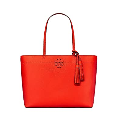 223aa5de568 Amazon.com  Tory Burch Pebbled Leather McGraw Tote (Poppy Red)  Clothing