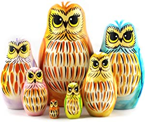 Owl Art Toy - Russian Nesting Dolls Owl Decorations for Home Shelf Decor Accents - Wood Owl Statue 7 Pcs - Owl Gifts Decor Figurines
