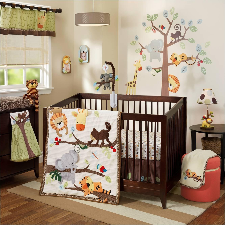 Lambs & Ivy Treetop Buddies Jungle Animal 4 Piece Crib Bedding Set, Brown/Green