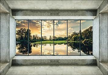 DekoShop Fototapete Landschaft Architektur Natur Wald Perspective P8  (368cm. X 254cm.) Moderne