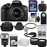 Canon EOS Rebel T6i Wi-Fi Digital SLR Camera & EF-S 18-55mm IS STM Lens with 32GB Card + Case + Strap + Filter + Flash + Tele/Wide Lens Kit