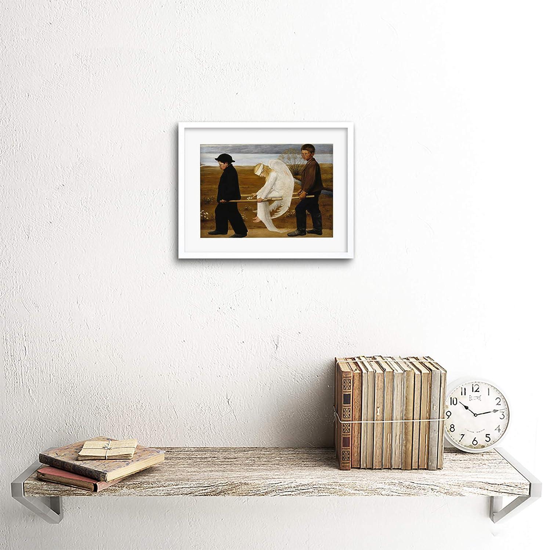 Pintura Simberg los heridos Angel impresión arte enmarcado 12x16 pulgadas
