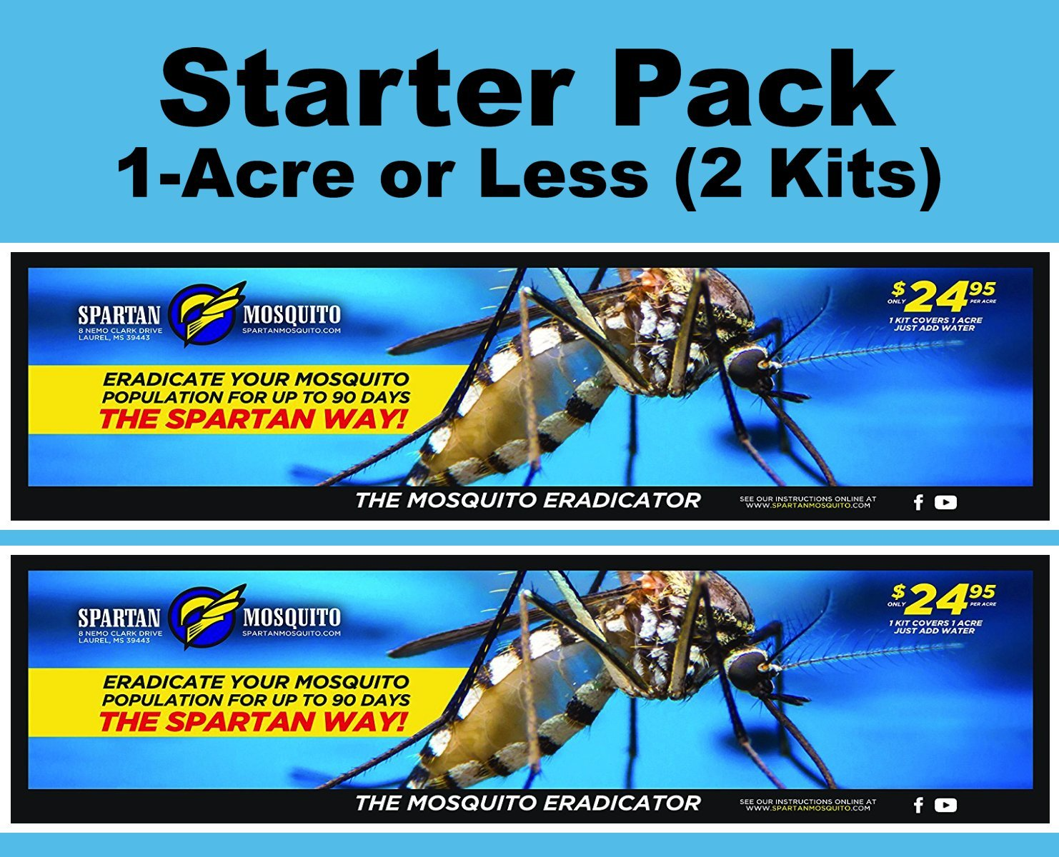 SPARTAN MOSQUITO ERADICATOR Control 1-ACRE STARTER PACK; Best Whole Yard Outdoor Killer Barrier Solution; More Effective Than ShortTerm Insect Repellent MosquitoFree Backyard Garden Patio