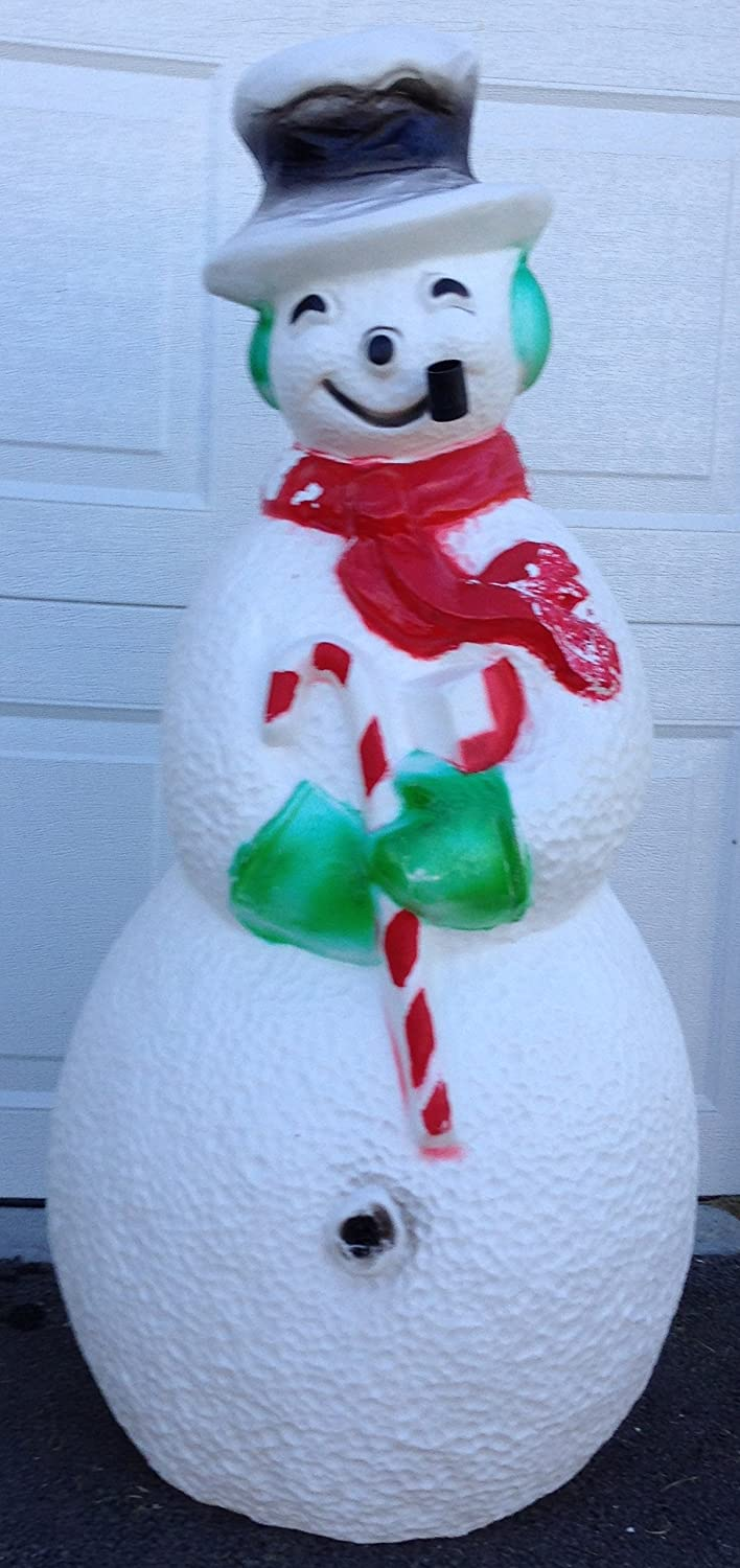 Amazon Giant Union Products Blowmold Frosty The Snowman 42 Tall Smiling With Pipe Christmas Dimpled Plastic Yard Decoration Vintage Home Kitchen