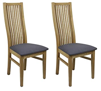 Meubletmoi Lot 2 Chaises Salle à Manger   Assise En Tissu Gris Anthracite    Structure Bois