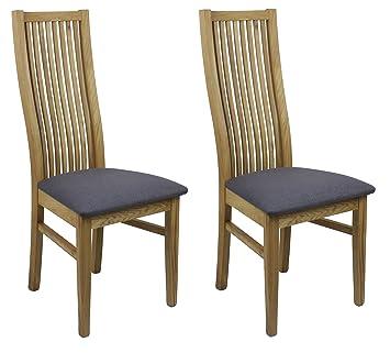 Meubletmoi Lot 2 chaises Salle à Manger - Assise en Tissu Gris ...