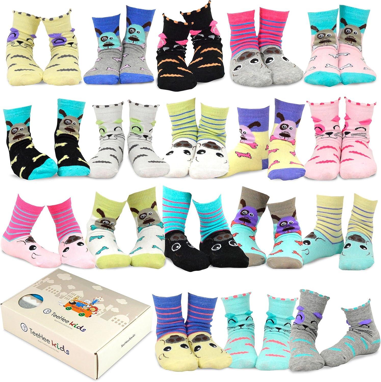 TeeHee Kids Girls Fun Novelty Casual Cotton Crew Socks 18 Pair Gift Box: Clothing