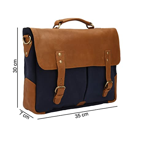 8a4945b3359c Carry Me Men's Leather Messenger/Briefcase/Laptop Bag For Office (Brown &  Navy Blue)