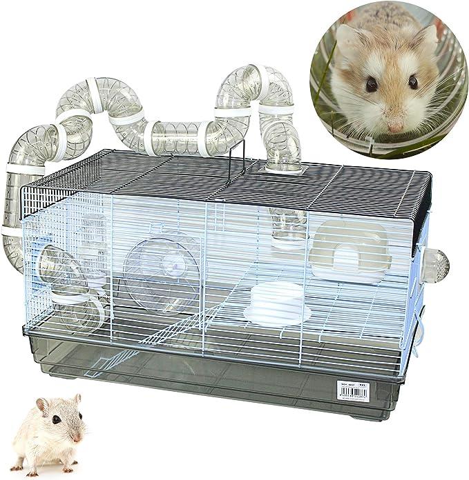 DZL-Jaula Hámster Chalé con Escalera jaulas Hamsters Grandes con Tubos Rueda para Ejercicio (L 31.5 * 58 * 32CM)