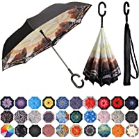 BAGAIL Double Layer Inverted Umbrellas Reverse Folding Umbrella Windproof UV Protection Big Straight Umbrella for Car Rain Outdoor with C-Shaped Handle (Autumn)
