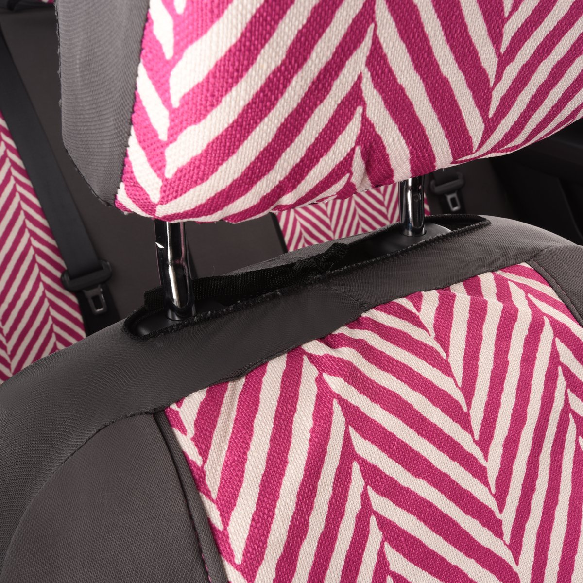Black and pink color Airbag Compatiable NEW ARRIVAL-Car Pass HOMESTYLE Ramie Cotton Universal Fit car seat covers With Opening Holes for headrest and seat belt