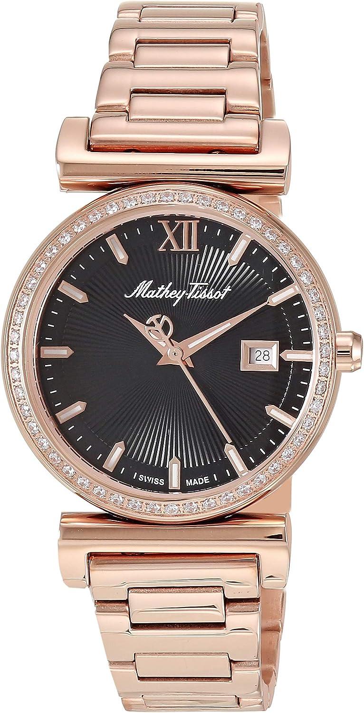 MATTHEY-TISSOT Correa de acero inoxidable de cuarzo Elegancia para mujer, oro rosa, 15 reloj casual (Modelo: D410PI)