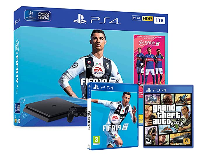 PS4 Slim 1Tb Negra Playstation 4 Consola + FIFA 19 + GTA V ...