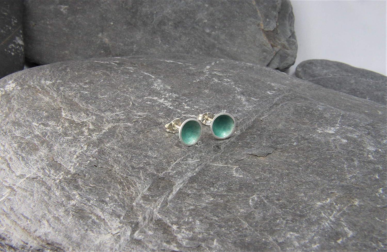 sea green hand made in Cornwall sea inspired enamel stud earrings domed studs Rock pool stud earrings sterling silver studs