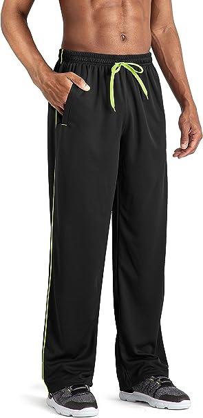 TACVASEN Mens Joggers Tracksuit Bottoms Zip Pockets Jogging Bottoms Sport Trousers