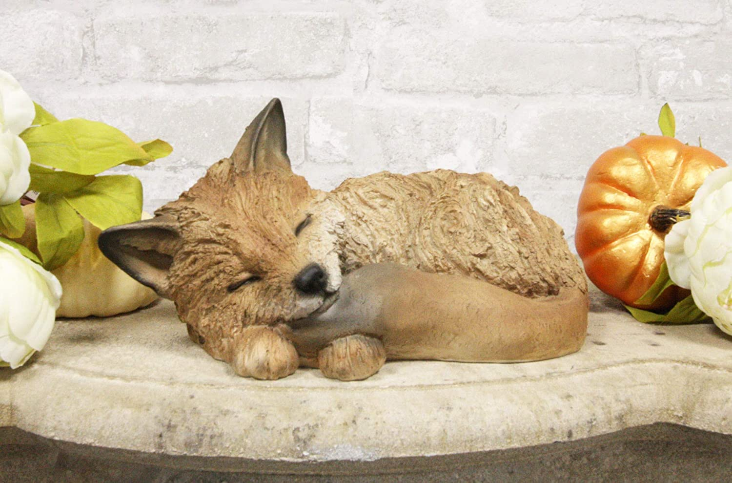 """Ebros Realistic Faux Driftwood Finish Design Baby Fox Cub Sleeping Resin Statue 10"""" Long Crafty Animal Foxes Decor Figurine Rustic Outdoors Western Decorative Sculpture"""