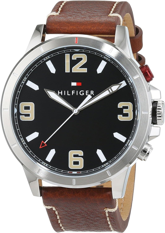 Tommy Hilfiger Reloj de pulsera de cuarzo para hombre con pantalla analógica/digital y correa de cuero